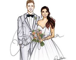 custom wedding printable custom portrait wedding invitation illustrated