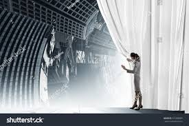 Stage Curtain Track Hardware by Young Businesswoman Opening Stage Curtain Another Stock Photo
