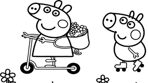 how to draw peppa pig and george pig coloring pages rainbows for
