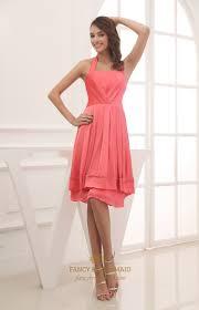 knee length military ball dress a line halter chiffon bridesmaid