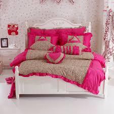 Sheet Bedding Sets Pink Ruffle Princess Cotton Duvet Cover Wedding Bedding Set