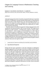 language factors in mathematics teaching and learning springer