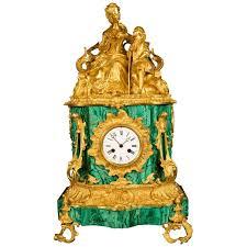 green malachite veneered mantel clock in the baroque style gilt
