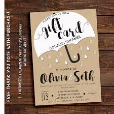 couples wedding shower invitations gift card shower wedding shower invitation his and hers