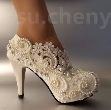 Wedding Shoes Size 9 Lace Crystal Pearls Wedding Shoes Pumps Bride Us Size 5 9 Heel