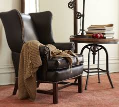 Wing Chairs For Living Room by Thatcher Leather Wingback Chair Black Pottery Barn