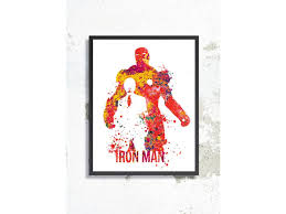 Iron Man Home by Man Watercolor Art Print Avengers Watercolor Iron Man Poster
