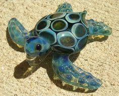 baby sea turtle necklace glass pendant by ryanjesseeglass