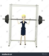 3d render cartoon character barbell cage stock illustration