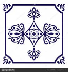 delft blue tile vector delft tiles pattern with indigo blue