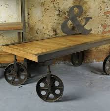 vintage wood coffee table industrial vintage coffee table with wheels by the orchard furniture
