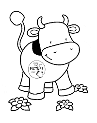 small cow coloring page for kids animal coloring pages printables