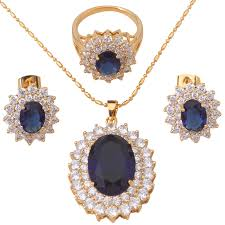 blue zircon jewelry necklace images 18k gold plated earring necklace jewelry set ring blue topaz jpg