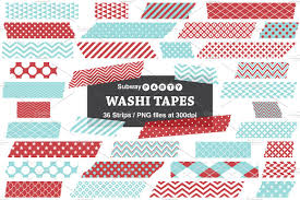 Washi Tape Designs by Xmas Aqua And Red Washi Tape Strips Web Elements Creative Market
