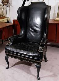 Leather Armchairs Vintage Vintage Black Leather Wing Chair At 1stdibs