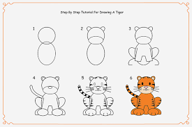 how to draw a tiger by for