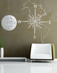 Map Of Usa With Compass Nautical Map Of North U0026 South America W Compass Vinyl Wall Decal 601