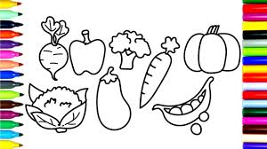 how to draw and coloring vegetables drawing with colorful