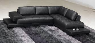 Black Leather Sofa Modern Fascinating Black Leather Sofa Idea With Big Modern Theme Design