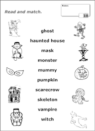 halloween vocabulary kids learning english printable resources