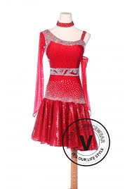 redcolor red color sequin rhythm chacha salsa latin competition dress