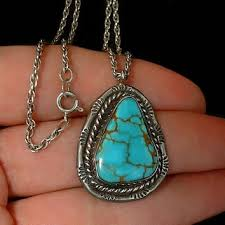 turquoise necklace silver chain images Best vintage navajo turquoise necklace products on wanelo jpg