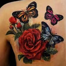 roses and monarch butterfly design on back
