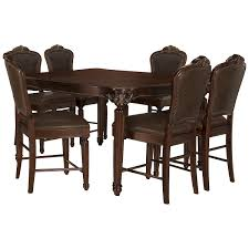 high table with four chairs regal dark tone high table 4 leather barstools dining room