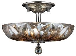 4 Light Semi Flush Ceiling Fixture by Mansfield 4 Light Chrome Finish U0026 Clear Crystal 16