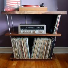Lps Help Desk Solid Walnut Record Player Table Shelf And Lp Holder For