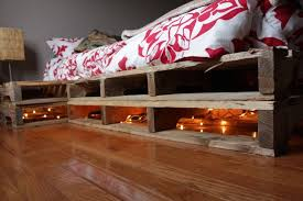 Pallet Bed Frame Plans Bedroom Pallet Bed With Storage And Light Plus Nightstand With
