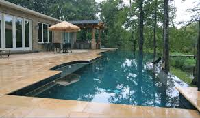 Backyard Swimming Pool Designs by Awesome Modern Infinity Pools Design With Wooden Plank Patio