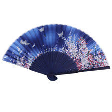 asian fan japanese folding blue butterfly silk flower bamboo