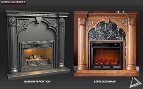 artstation vintage fireplace hard surface study desmond man