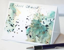 personalized ombre watercolor note card set flat notecard