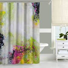 Pink Black And White Shower Curtain Abstract Shower Curtain Green Yellow Pink