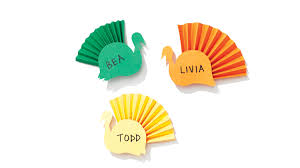 colorful paper turkey place cards martha stewart
