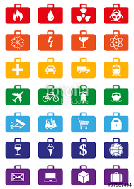 logistics service icons set represented by suitcases with