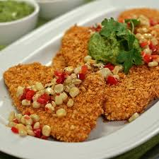 Main Dish With Sauce - tortilla crusted turkey cutlets with spicy avocado sauce and corn