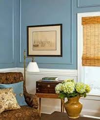 this color scheme grey tile blue walls with white beadboard