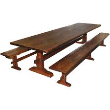 trestle table and benches made from reclaimed antique pine made