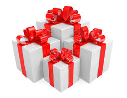 bows for cars presents of white gift boxes wrapped with ribbons into bows