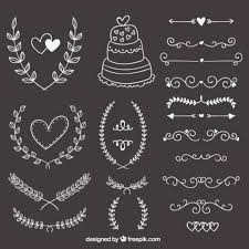 free vector wedding ornaments on blackboard 14896 my