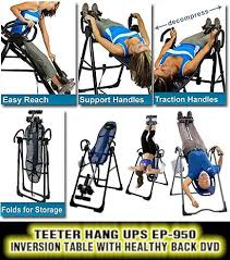 teeter inversion table reviews teeter hang ups ep 950 inversion table with healthy back dvd