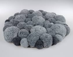 Grey Round Rug Fluffy Pom Pom Rug Round Mat Grey Pompom By Pompommyworld