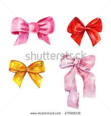 ribbon and bows ribbon bows watercolor stock illustration 477008236