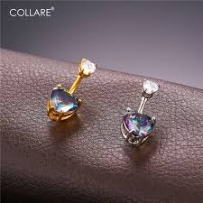 aliexpress belly rings images Collare reiki navel piercing big crystal heart body chain gold jpg