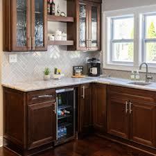 brown kitchen cabinets with backsplash 75 beautiful kitchen with brown cabinets and subway tile