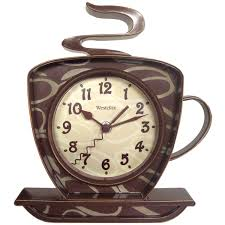 designer kitchen wall clocks amazon com westclox 32038 coffee time 3 d wall clock kitchen