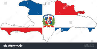 Flag Of The Dominican Republic Country Shape Outlined Filled Flag Dominican Stock Vector